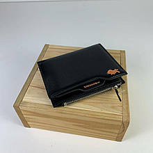 Мини кошелек с отделением для мелочи на молнии / натуральная кожа (10239) Черный