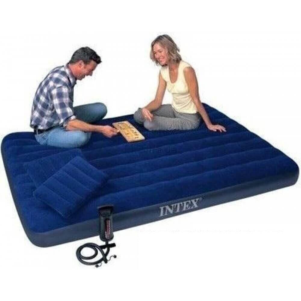 Надувний матрац (матрац) Intex 64765 велюровий двоспальний 152х203х25см + 2 подушки + насос