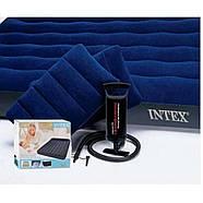 Надувний матрац (матрац) Intex 64765 велюровий двоспальний 152х203х25см + 2 подушки + насос, фото 3