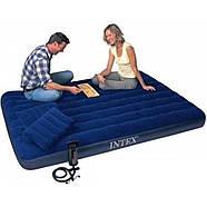 Надувний матрац (матрац) Intex 64765 велюровий двоспальний 152х203х25см + 2 подушки + насос, фото 4