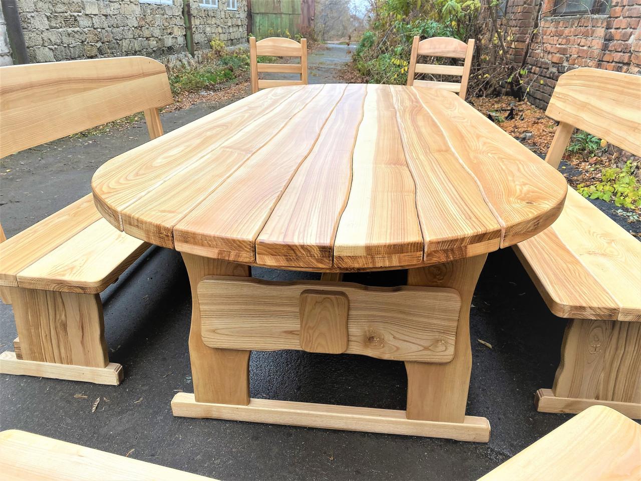 Дизайнерська дерев'яні меблі ручної роботи з масиву ясена 2500х1000 під замовлення від виробника Київська