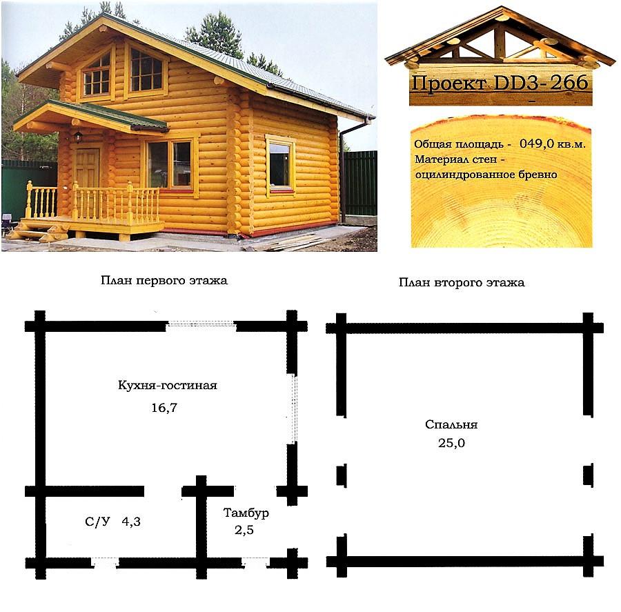 Проект дома из оцилиндрованного бревна 49 м2. Проект дома бесплатно при заказе строительства