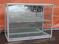 Торговая витрина стеклянная с алюминиевого профиля (куб) 100х50х80 см., Б/у, фото 1