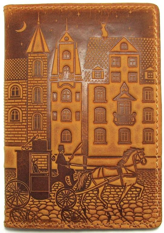 """Кожаная обложка на паспорт - """"Город"""" (коричневый) - 220 грн. лицевая сторона"""