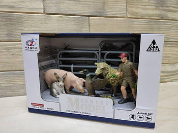 Набор животных Ферма Q 9899-X16-1 (мужчина с травой, утка, овца, свинья, заяц)