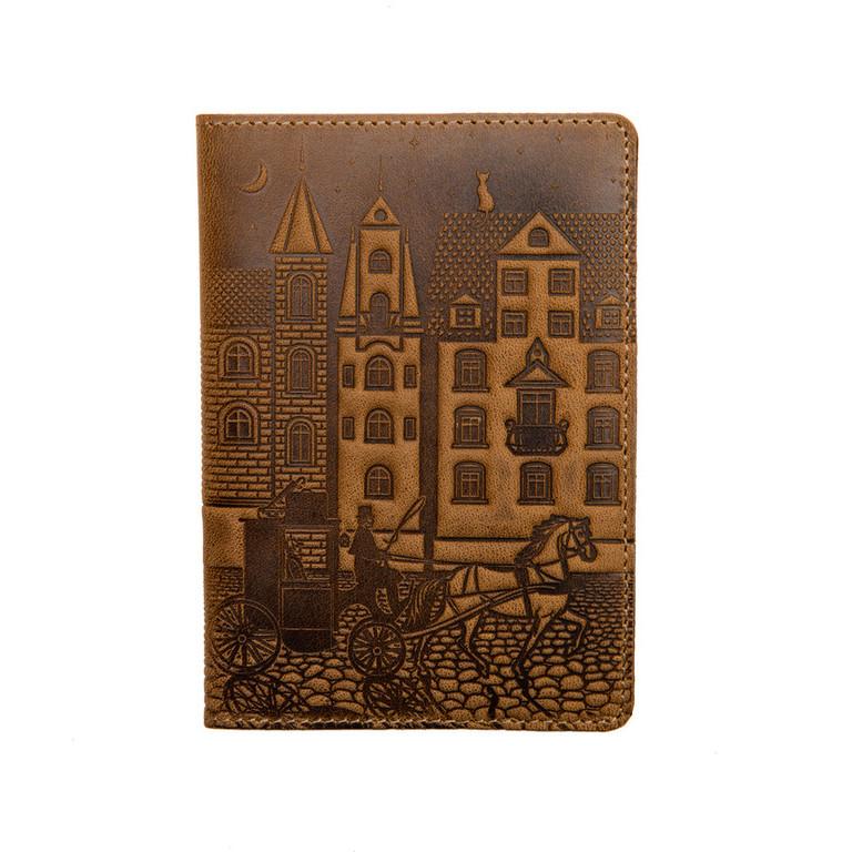 """Кожаная обложка на паспорт - """"Город"""" (темно-коричневый) - 220 грн. лицевая сторона"""