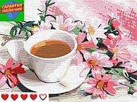 Картина по номерам Чашка кофе с лепестками цветов Натюрморт +ЛАК 40*50см Барви Раскраска по цифрам