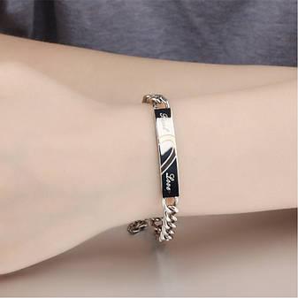"""Парные браслеты для двоих влюбленных половинки сердца цепь медицинская сталь гравировка """"Настоящая любовь"""", фото 2"""