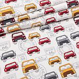 """Клапоть фланелі """"Сірі, червоні і жовті машини"""" на білому фоні, розмір 37*71 см, фото 2"""