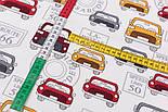 """Клапоть фланелі """"Сірі, червоні і жовті машини"""" на білому фоні, розмір 37*71 см, фото 4"""