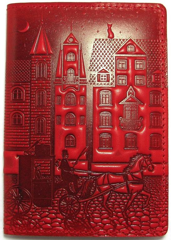 """Кожаная обложка на паспорт - """"Город"""" (красный) - 220 грн. лицевая сторона"""