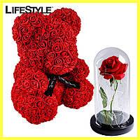 Мишко з Троянд 25см + Троянда в колбі з LED підсвічуванням