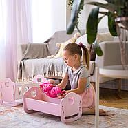 """Деревянная кроватка-люлька """"Манюня"""" NestWood для Беби Борна и пупсов розовая, фото 2"""