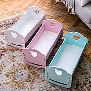 """Деревянная кроватка-люлька """"Манюня"""" NestWood для Беби Борна и пупсов розовая, фото 4"""