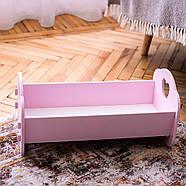 """Деревянная кроватка-люлька """"Манюня"""" NestWood для Беби Борна и пупсов розовая, фото 5"""