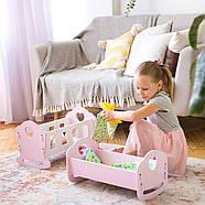 """Деревянная кроватка-люлька """"Манюня"""" NestWood для Беби Борна и пупсов розовая, фото 6"""