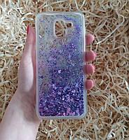 Чехол с сердечками и блестками в жидкости для Samsung Galaxy J6 (2018), Фиолетовый
