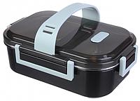 Ланч-бокс 450 мл черного цвета с металлической вставкой и ручкой, фото 1