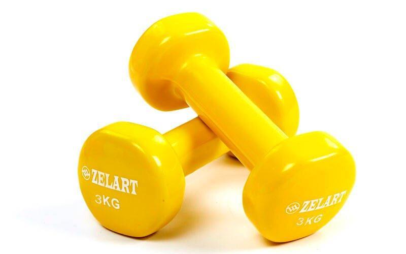 Гантели для фитнеса с виниловым покрытием Zelart Beauty TA-5225-3Y (2x3кг), желтые