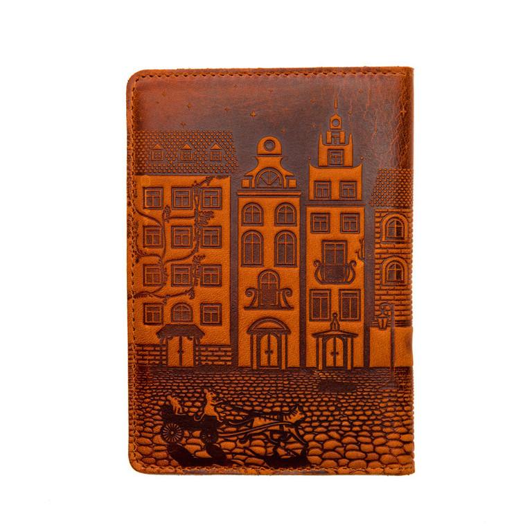 """Кожаная обложка на паспорт - """"Город"""" (рыжий) - 220 грн. обратная сторона"""