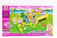 Домик 8075 (1194414) (18шт|2) 2-х этажный с садом, куклами, мебелью, в кор. 47*9,5*28см