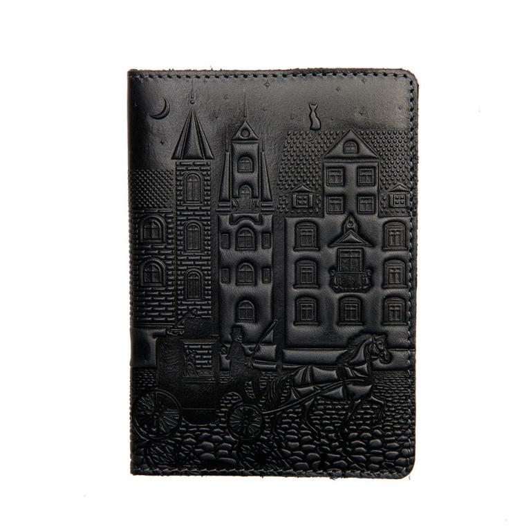 """Кожаная обложка на паспорт - """"Город"""" (темно-серый) - 220 грн. лицевая сторона"""