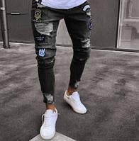 Джинсы мужские зауженные, джинсы с нашивками размеры L,XL