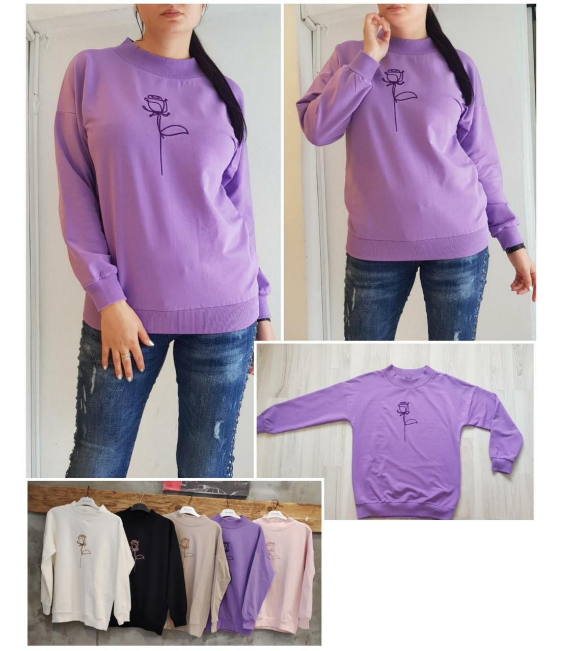 Женский повседневный пуловер с розой S-XL (в расцветках)