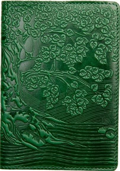 """Кожаная обложка на паспорт - """"Дерево"""" (зеленый) - 220 грн. лицевая и обратная сторона"""