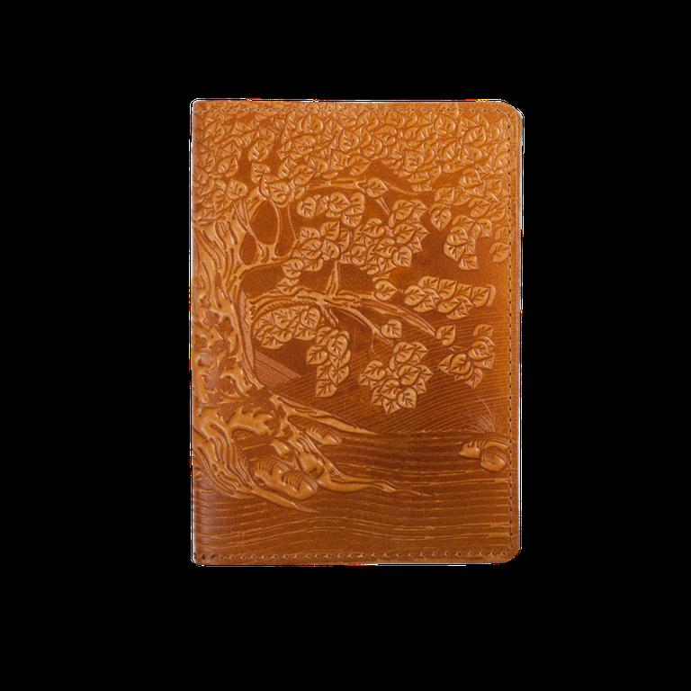 """Кожаная обложка на паспорт - """"Дерево"""" (желтый) - 220 грн. лицевая и обратная сторона"""