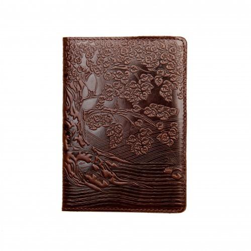 """Кожаная обложка на паспорт - """"Дерево"""" (коричневый) - 220 грн. лицевая и обратная сторона"""