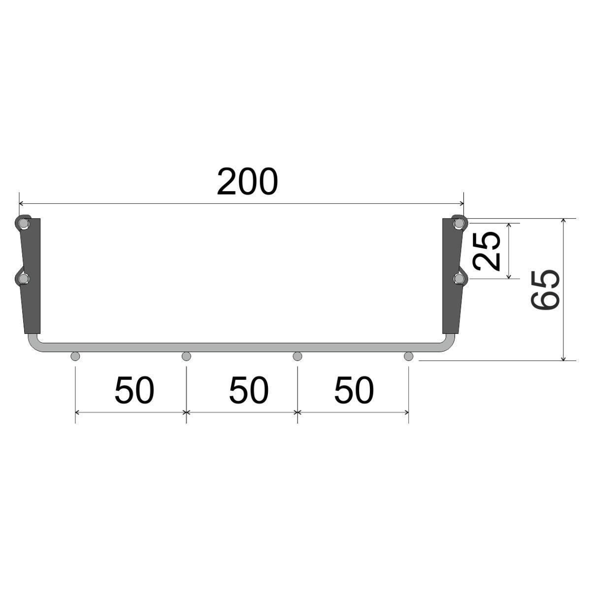 DZI 60X200_BZNCR Дротяний лоток з інтегрованим з'єднання єднанням