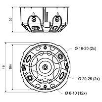 Розподільча копробка з кришкою. З еластичними вводами, Жовта, ПВХ, Діаметр 104мм, Глибина 54мм