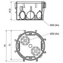 Коробка приладова, з'єднання єднуються між собою; ПВХ; сіра; Ø70х45мм
