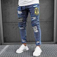 Джинсы мужские зауженные, джинсы с нашивками, размеры M,XL