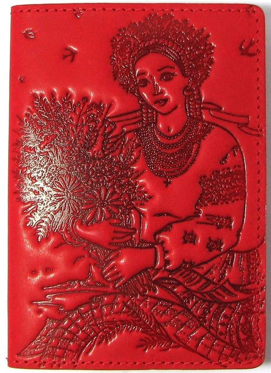 """Кожаная обложка на паспорт - """"Украиночка"""" (красный) - 220 грн. лицевая сторона"""