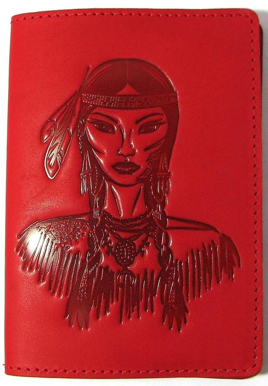 """Кожаная обложка на паспорт - """"Индеанка"""" (красный) - 220 грн. лицевая сторона"""