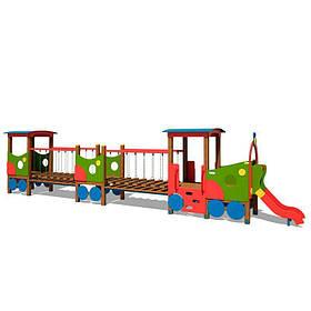 Локомотив з двома вагонами