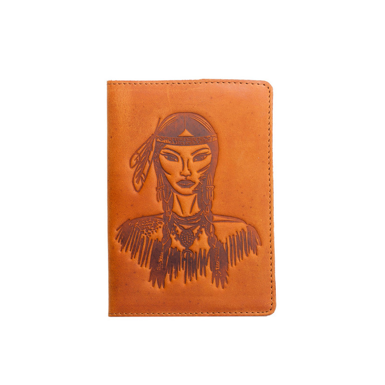 """Кожаная обложка на паспорт - """"Индеанка"""" (рыжий) - 220 грн. лицевая сторона"""