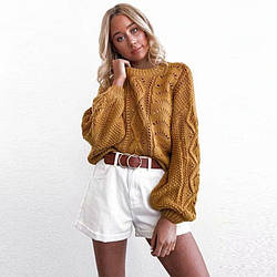 Свитер женский с объемными рукавами Knitting Berni Fashion (One Size)