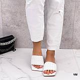 Шльопанці жіночі білі квадратний носок еко шкіра, фото 4