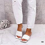 Шльопанці жіночі білі квадратний носок еко шкіра, фото 5