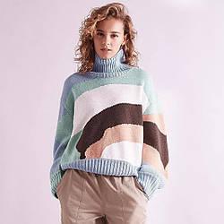 Свитер женский oversize Colored stripes Berni Fashion (One Size)