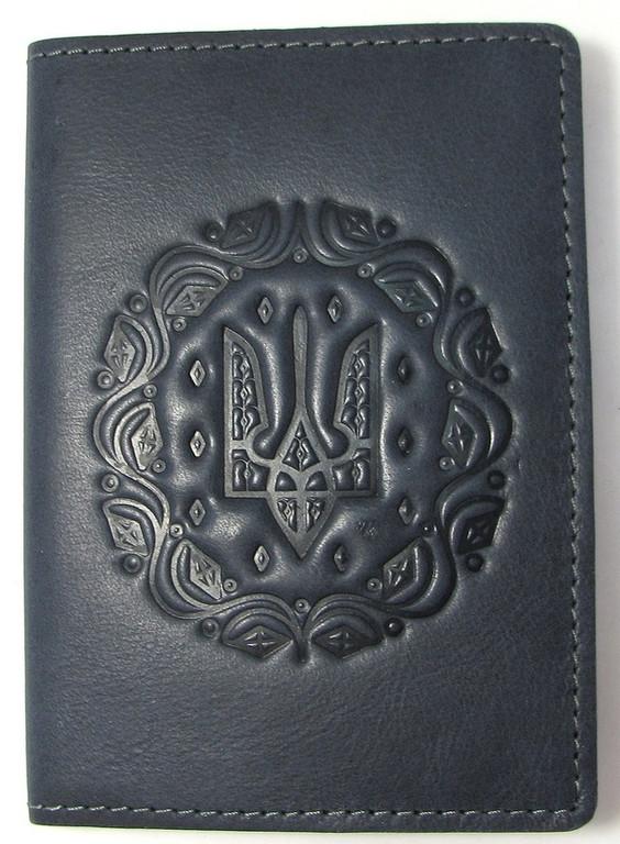"""Кожаная обложка на паспорт - """"Герб"""" (темно-синий) - 180 грн. лицевая сторона"""
