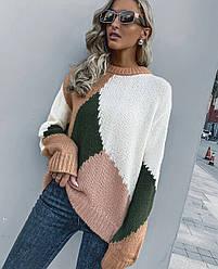 Свитер женский контрастный oversize Coloring Berni Fashion (S)
