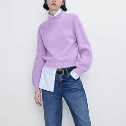 Свитер женский с объемными рукавами Violet, фиолетовый Berni Fashion (S)