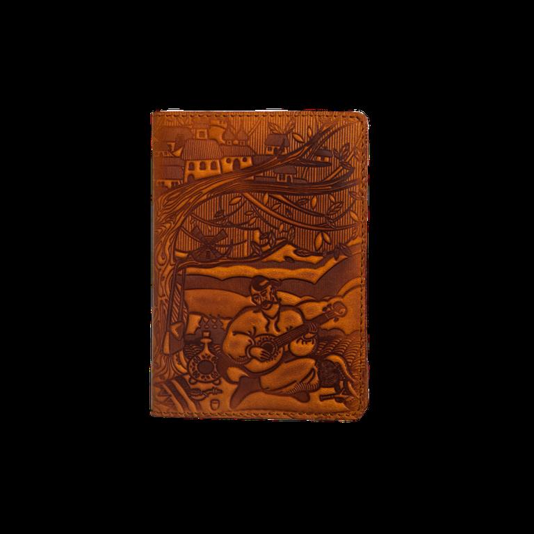 """Кожаная обложка на паспорт - """"Кобзарь"""" (рыжий) - 220 грн. лицевая сторона"""