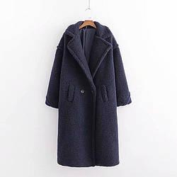 Пальто женское из искусственного меха Style, синий Berni Fashion (S)