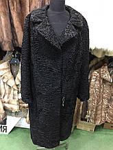 Каракульча чорна шуба натуральна каракульча пальто з чорної каракульчі сток