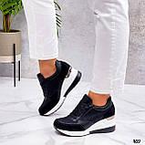 Сникерсы / кроссовки  женские белые с черным эко кожа+ текстиль, фото 3